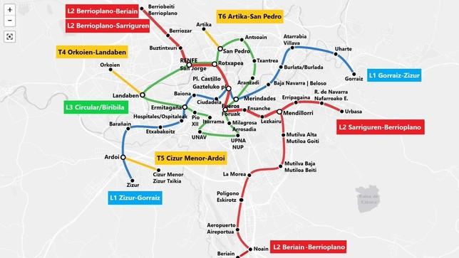 Esquema con las líneas de metro que han ideado los promotores de este proyecto