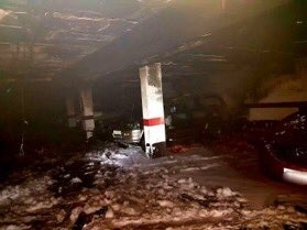 Incendio en un garaje de Vela Zanetti. Bomberos de Burgos.