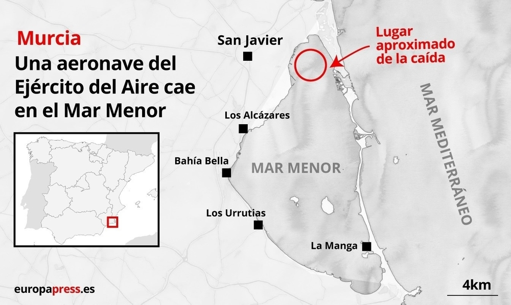 Fallecen los dos militares del avión caído en el Mar Menor