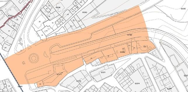 Plano del Peahis que marca la zona denominada 'Plaza del Acueducto'