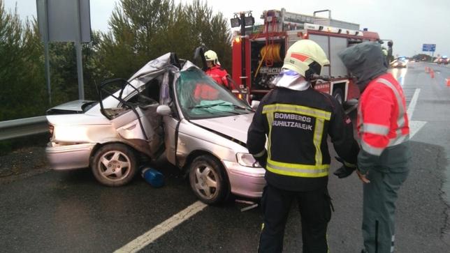 Dos heridos en dos salidas de vía en Castejón y Lizoáin