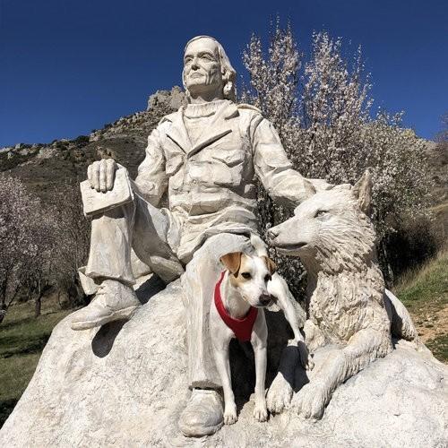 Pipper, en el monumento de homenaje a Félix Rodríguez de la Fuente.
