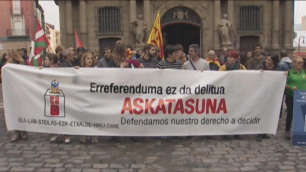 Sindicatos navarros se solidarizan con Cataluña