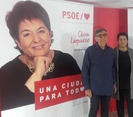 Jesús Pascual, Con Clara Luquero en un acto del PSOE durante la campaña electoral