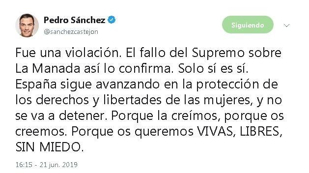 Tweet de Pedro Sánchez Twitter