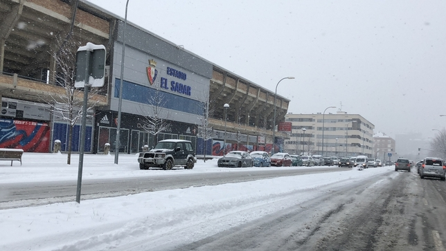 Hoy pueden caer hasta 7 centímetros de nieve en Pamplona
