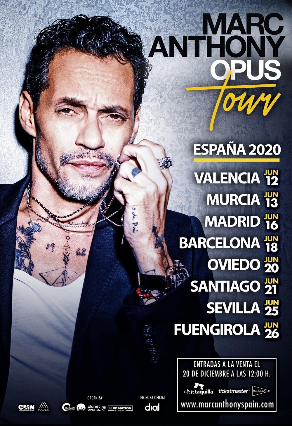 Marc Anthony anuncia ocho conciertos en España para 2020