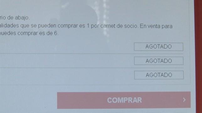 La página web de Osasuna mostraba este aspecto al poco tiempo de poner las entradas a la venta NATV
