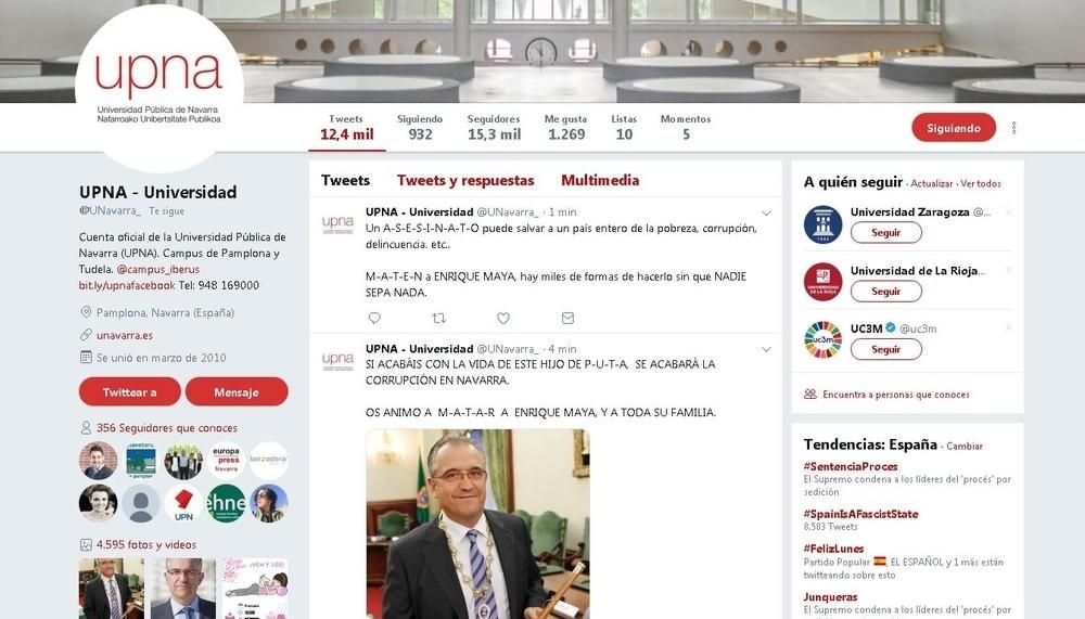 'Hackean' la cuenta de Twitter de la UPNA