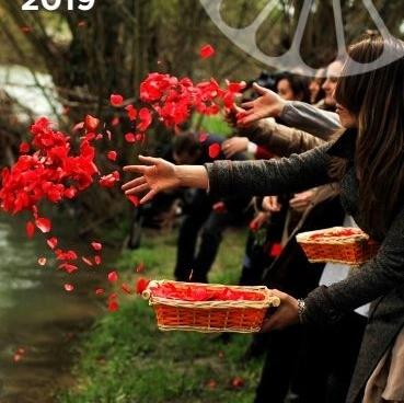 Flores en el río Arga para celebrar el Día del Pueblo Gitano