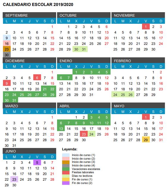 Calendario 2020 Con Festivos.Calendario Escolar 2019 2020 Festivos Puentes Y Vacaciones El