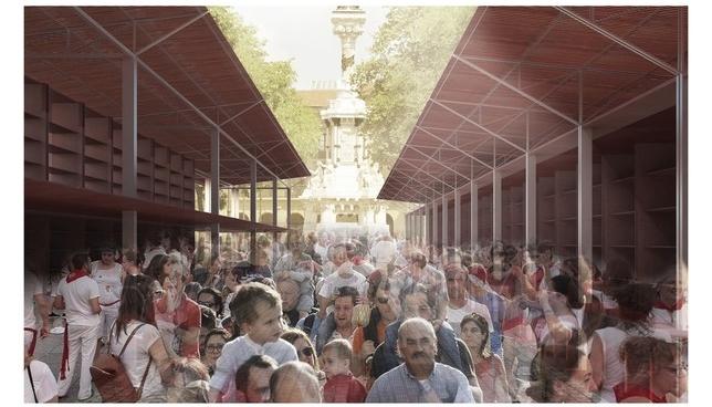 Montaje del proyecto de la Tómbola de Marc Ribert y Pablo Elosua.  Universidad de Navarra
