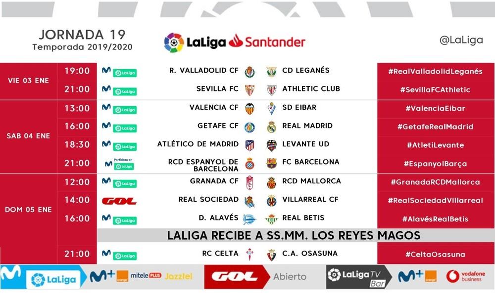 Ya se conocen los horarios ante Getafe, Valencia y Leganés