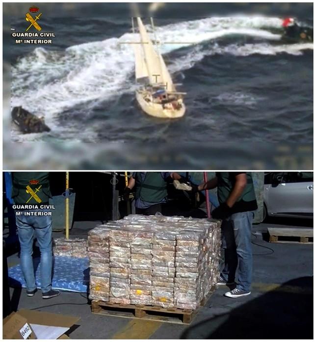 Interceptan en Málaga un velero con 600 kilos de cocaína