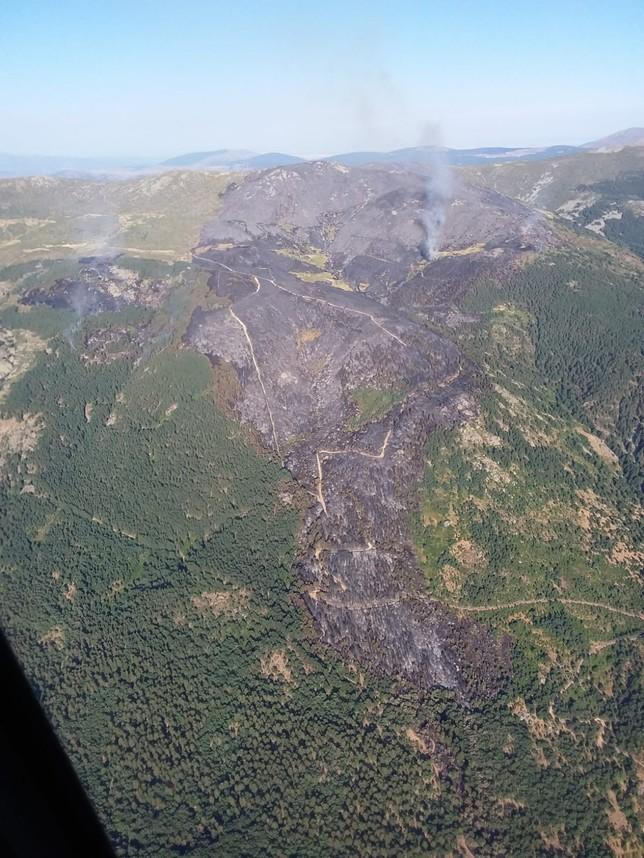 Foto área donde se aprecia la zona quemada en La Granja