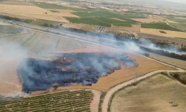 Controlado el incendio de un campo en Olite junto a la AP-15