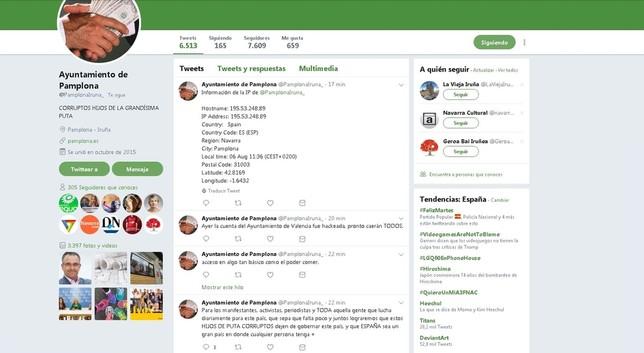'Hackean' la cuenta de Twitter del Ayuntamiento de Pamplona