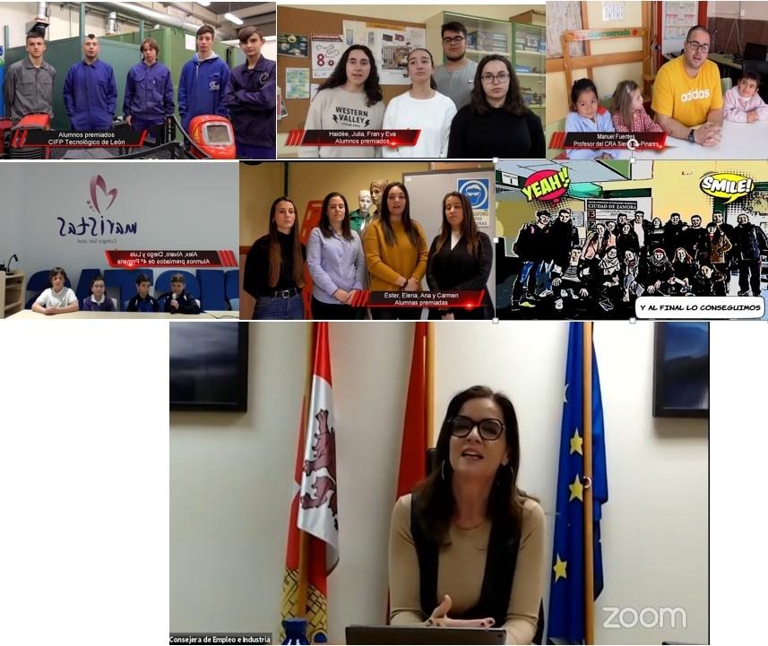 La consejera con los ganadores, los alumnos de Vilviestre del Pinar y su profesor arriba a la derecha.