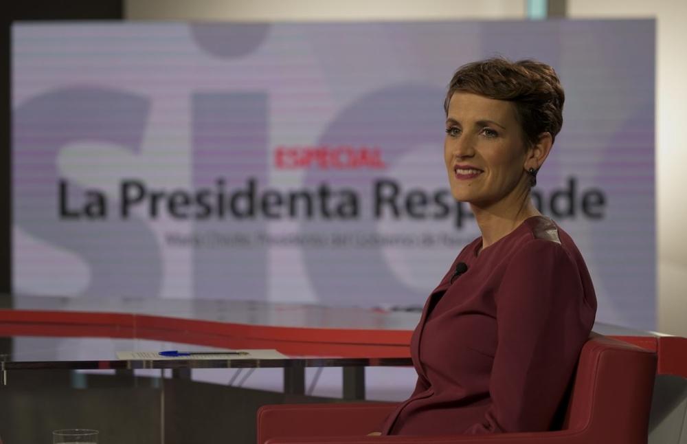 La entrevista de María Chivite, en fotos