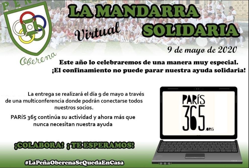 Oberena entregará la Mandarra Virtual Solidaria a París 365