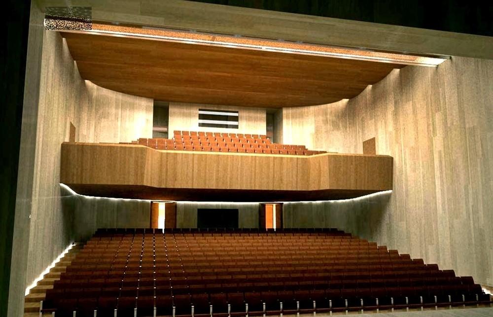 Recreación del interior del futuro Teatro Cervantes, que podría empezar a rehabilitarse este año. La imagen forma parte del proyecto redactado.