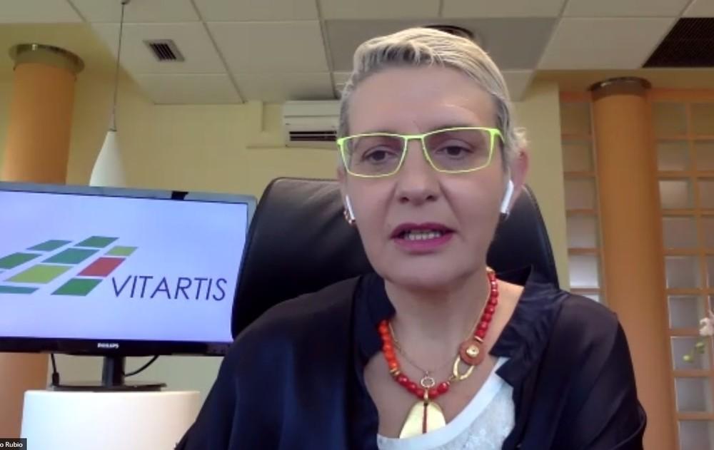 Beatriz Escudero, durante la apertura de la reunión virtual.