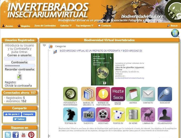 Web sobre invertebrados de la plataforma biodiversidadvirtual.org