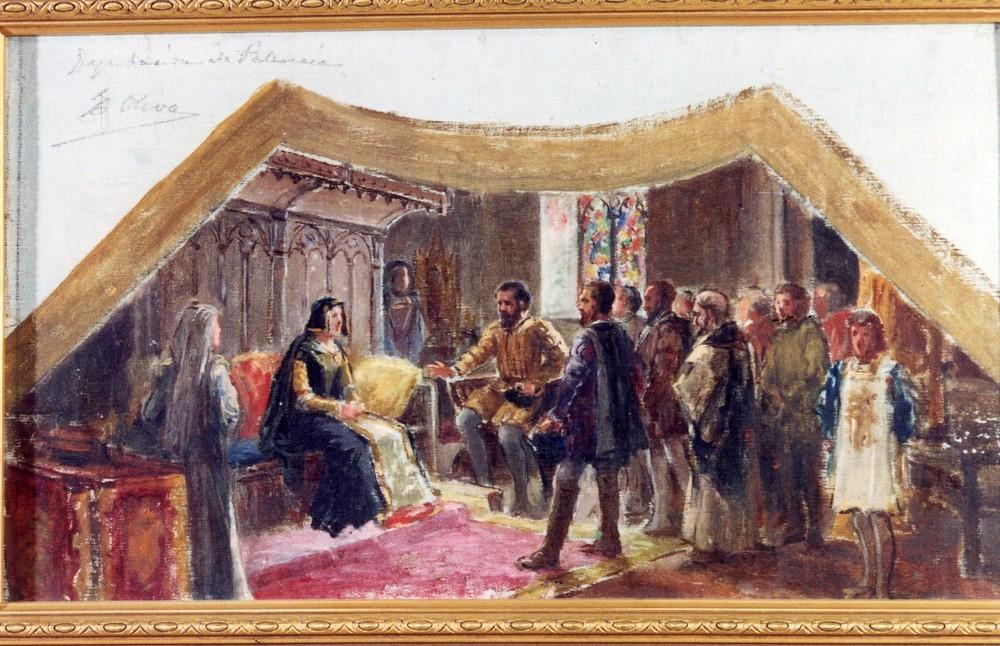 Un boceto de Eugenio Oliva para el fresco 'Los comuneros visitando a doña Juana', pintado en la Diputación Provincial de Palencia y desaparecido en un incendio en 1966.