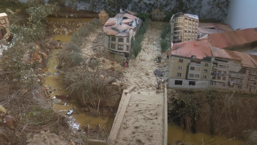 Éxito de este belén que recrea las inundaciones de Tafalla