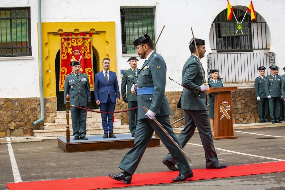Toma de posesión del nuevo jefe de la Comandancia de la GuardiaCivil de Ciudad Real Juan Antonio Valle teniente coronel, con la presencia del Delegado delGobierno Francisco Tierra Seca, Jose manuelCaballero y Pilar Zamoara