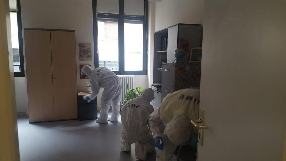 Dos equipos de la UME desinfectan edificios en Navarra
