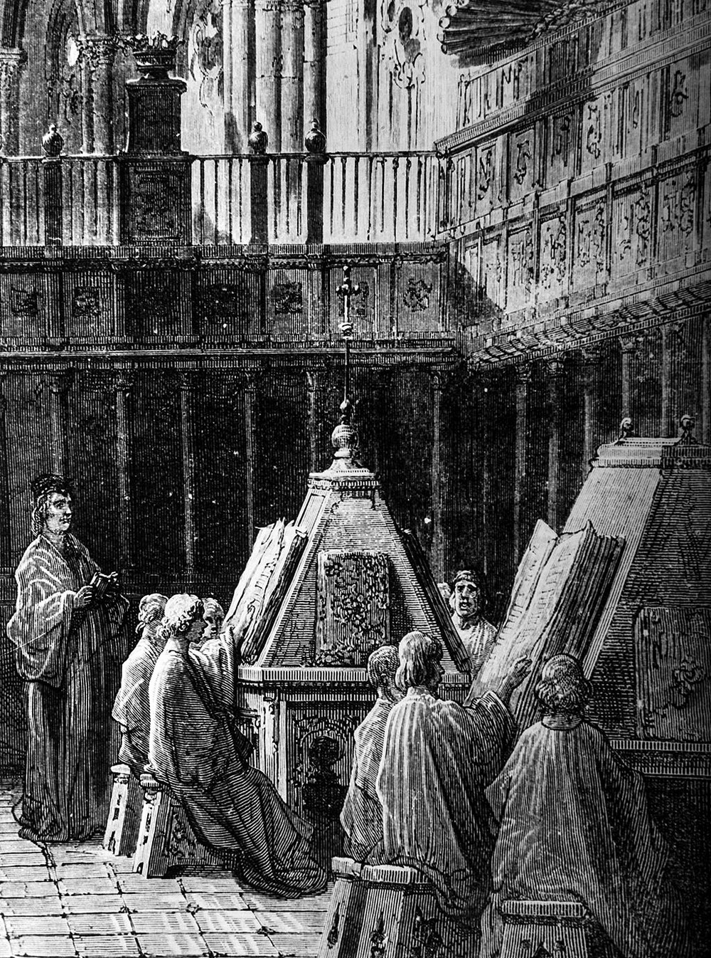 Grabado sin fechar de niños cantores ante los facistoles del coro de la catedral.