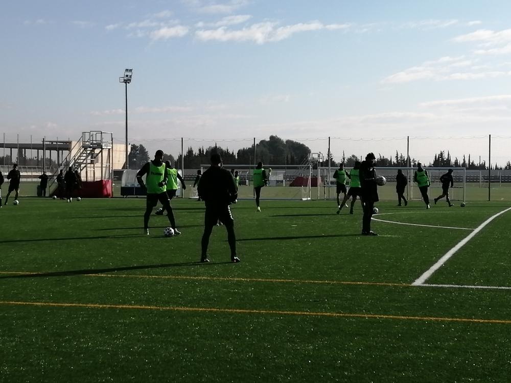 El equipo, sobre el césped artificial de la Ciudad Deportiva.