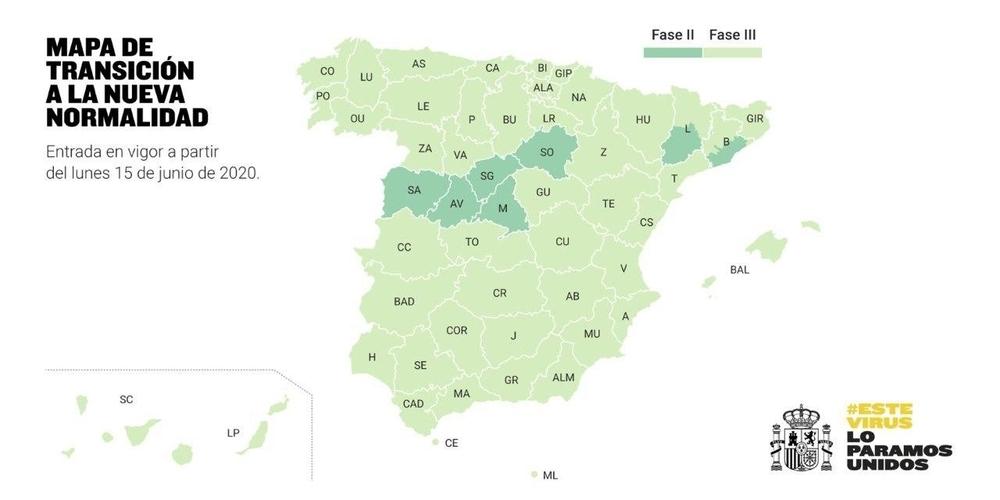 34 millones de españoles estarán el lunes en fase 3