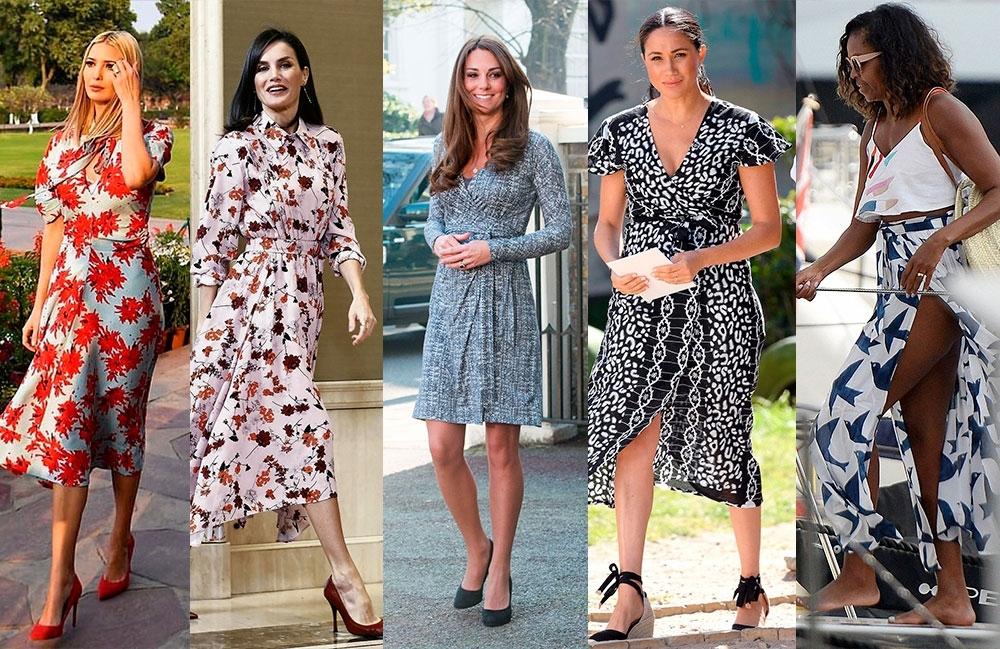 De izquierda a derecha: Ivanka Trump, con un colorido modelo; Doña Letizia es fiel a esta prenda; Kate Middleton, en versión más corta; Una asidua, Megan Markle; Michele Obama, con modelo en falda.