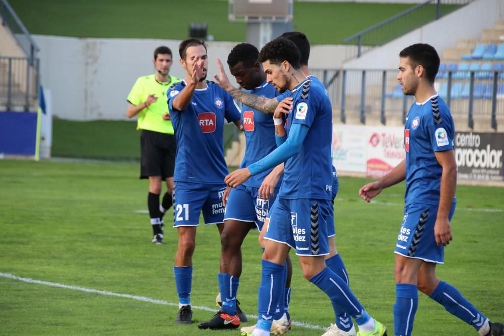 Los jugadores del Calvo Sotelo festejan un gol.