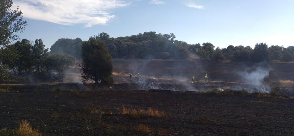 Las llamas se han originado en un terreno junto al camino hacia Cebrecos, cerca de Tordueles.