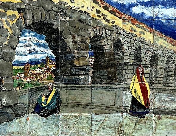 Segovianas junto al Postigo. Panel que se compone de treinta y cinco baldosas. Vendido por 1.900 euros.