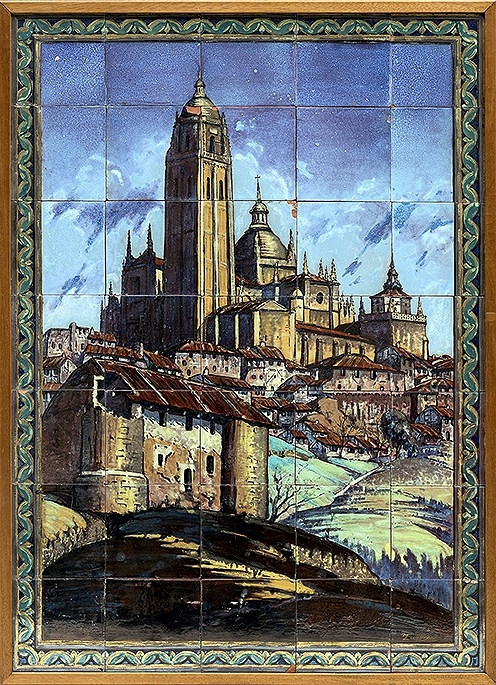 Panel vista de Segovia. Panel que se compone de 35 azulejos de diverso tamaño. 2.000 euros.