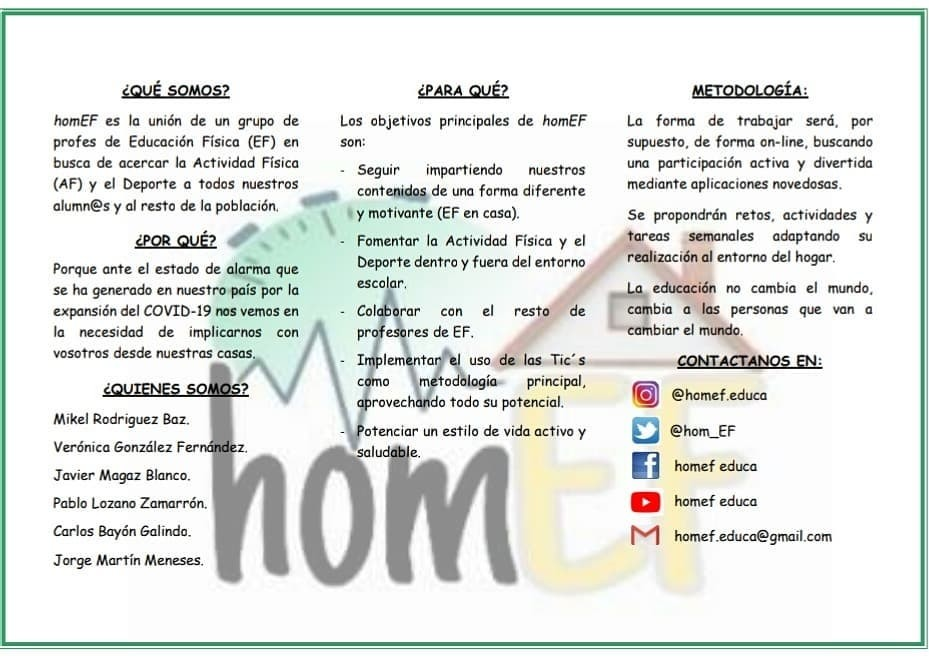 HomEF te invita a hacer educación física desde casa