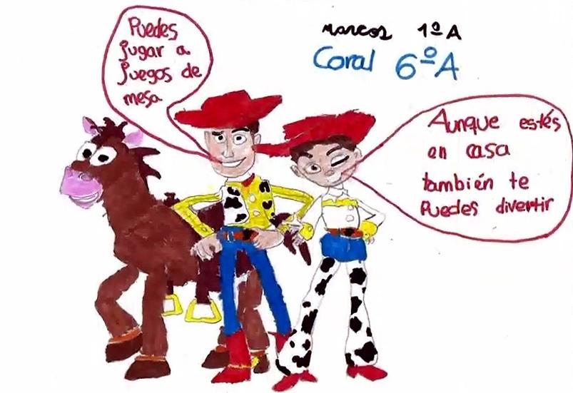Marcos y Coral realizaron este dibujo de Toy Story.