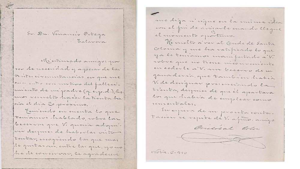 Reproducción de las cartas entre el duque de Veragua y D. Venancio Ortega cedidas por Vicente María Leyva Ortega en los años 80 al Club Taurino Talaverano.