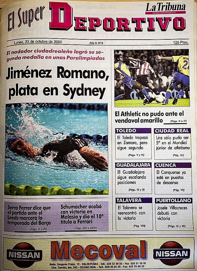Portada del suplemento de deportes de 'La Tribuna' del 23 de octubre de 2000, con la plata de Jiménez Romano en Sidney.