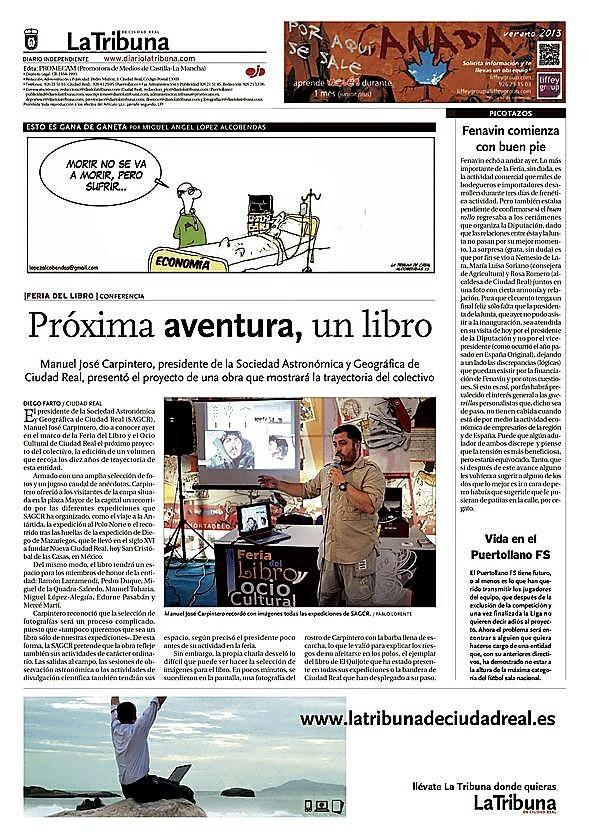 Contraportada de 'La Tribuna' del 8 de mayo de 2013, en la que Carpintero anuncia un libro y mostraba al fondo su mítica foto con la cara congelada.