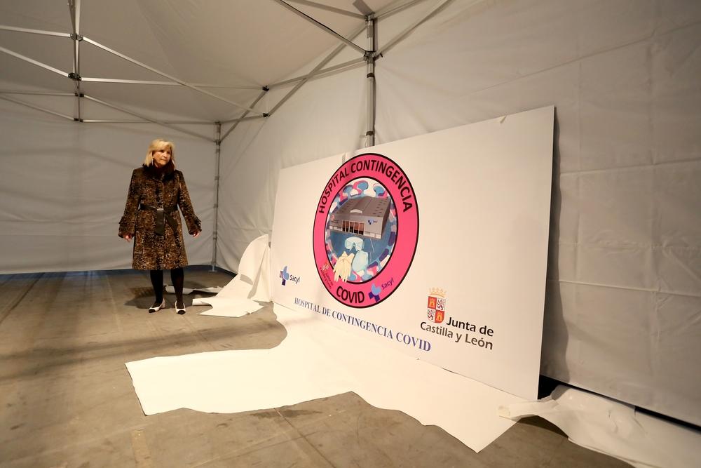 La consejera de Sanidad visita el hospital de campaña en la Feria de Muestras de Valladolid