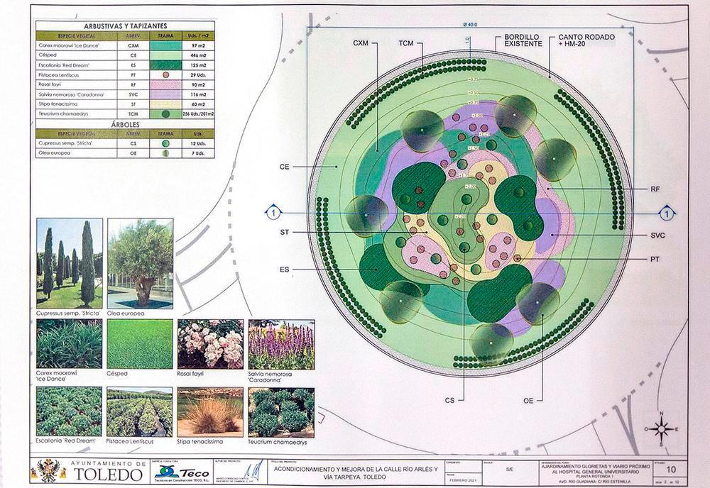 Diseño del ajardinamiento que se realizará de la rotonda situada en la intersección de Río Guadiana con Estenilla.