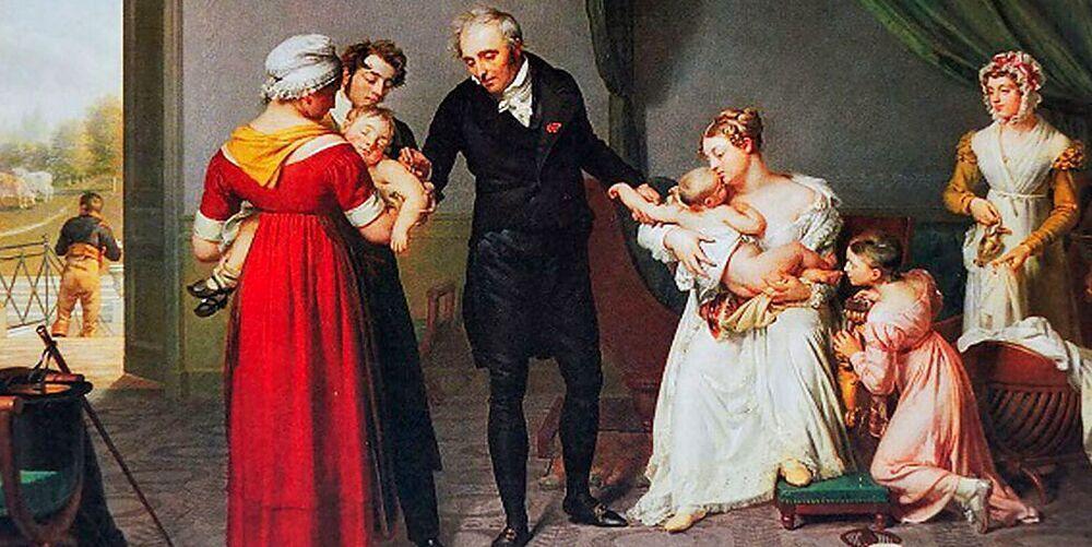 Un lienzo que representa al doctor Balmis en la campaña de vacunación.