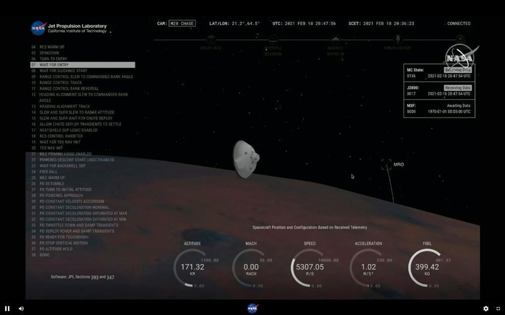 Perseverance llega con éxito a la superficie de Marte