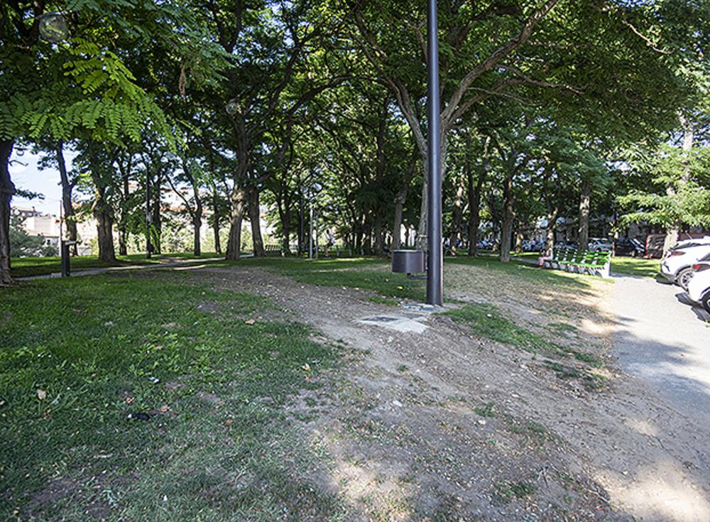 Vereda en zona verde cercana a la Avenida de Valencia del Cid.