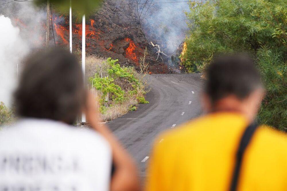 Los reporteros gráficos documentan 'in extremis' el avance de la colada por una carretera.